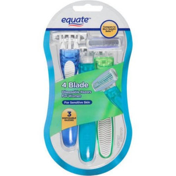 Equate Women's 4-Blade Disposable Razors, 3 Ct