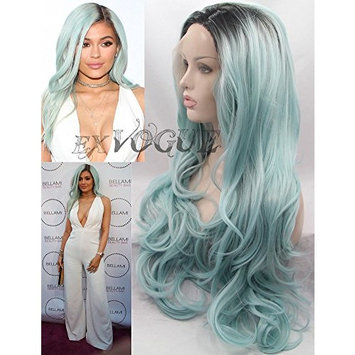 Exvogue Long Light Blue Ombre Celebrity Style Wig is Fashion Lace Front Body Wave Pastel Colored Synthetic Hair Replacement with Dark Roots