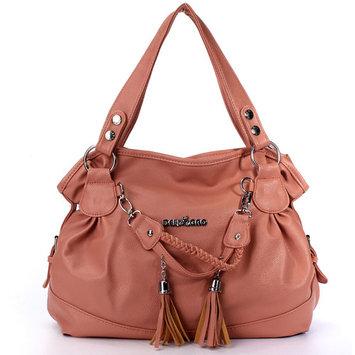 Fashion Leather Tassel Handbags For Women Shoulder Bag Purse Messenger Shopper Tote Bag,Pink color