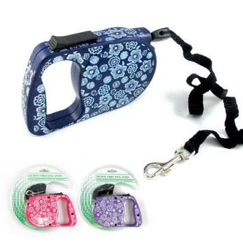 Atb 11 Ft Retractable Dog Leash Lock Leads Walk Run Flower Design Up To 66 Lbs New!