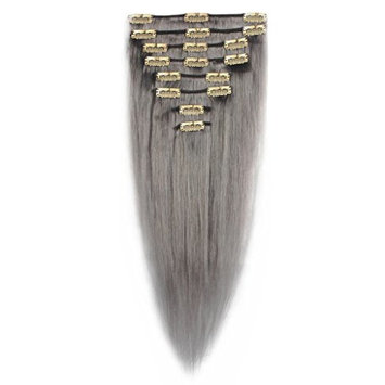 FIRSTLIKE 18 Inch Granny Gray Remy Human Clip in Hair Extensions 8 Pcs 18 Clips on Full Head Straight Silky Wigs