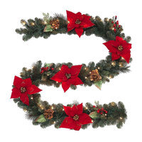 9 ft. Pre-Lit Silk Poinsettia Garland with Red Berries and Magnolia Leaves 2174910HD