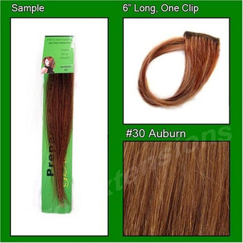 #30 Auburn, 6 Inch Sample of Clip on in Human Hair Extensions Set : Beauty
