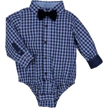 G-Cutee Newborn Baby Boy Blue Check Shirt with Bowtie