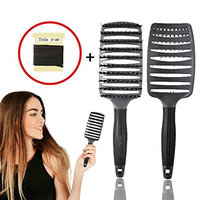 Hair Brush for Women 2pcs - Boar Bristle Curved and Vented Brush - for Long,Thick,Curly & Tangled Hair with 12 Hair Band