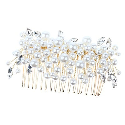 Baoblaze Ladies Vintage Gold Alloy Pearls Hair Comb Wedding Bridal Party Hair Jewelry