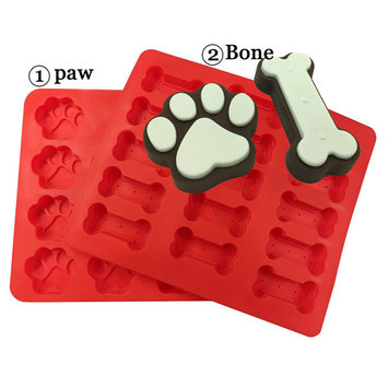 CHARMED Kitchen Dog Treats Silicone Cookie Cake Pan Mold Bone-Shaped and Paw Prints; Pack of 2