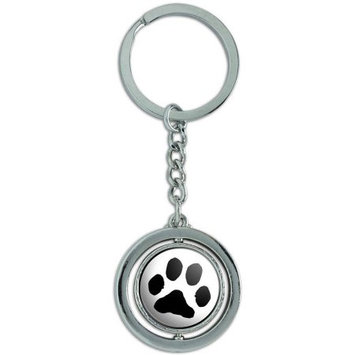Graphics And More Paw Print Pet Dog Cat Spinning Round Metal Key Chain Keychain Ring