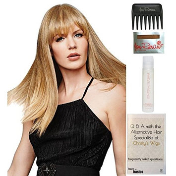 Bundle - 5 Items: Fringe Top of Head Hair Topper by Hairdo, Christy's Wigs Q & A Booklet, 2oz Travel Size Wig Shampoo, Wig Cap & Wide Tooth Comb - Color: R14/88H