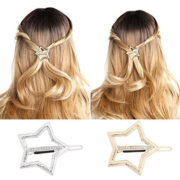 Unicra Hair Barrettes for Women - 8 Pcs Hair Bows for Girls Valentine's Day Present (Gold and Silver)