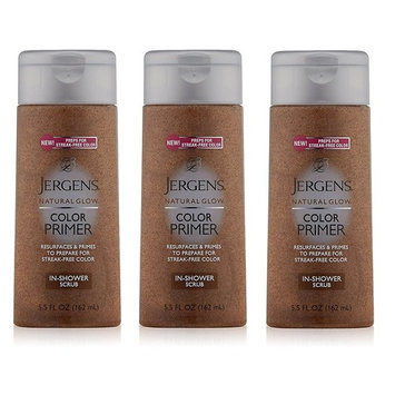 Jergens Natural Glow Color Primer In-Shower Scrub, 5.5 Ounce (Pack of 3) + FREE Assorted Purse Kit/Cosmetic Bag Bonus Gift