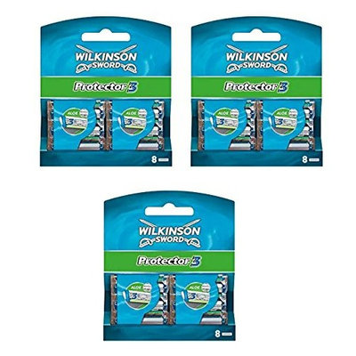 Wilkinson Sword Protector 3 Refill Cartridges Razor Blades, 8 Count (Comparable to Schick Protector) (Pack of 3) + Makeup Blender