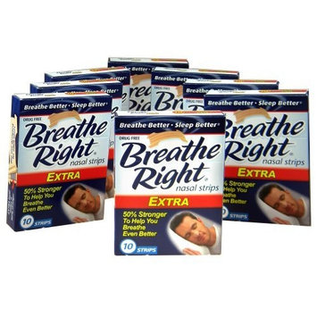 Breathe Right Nasal Strips, Extra, 10ct (Pack of 8)