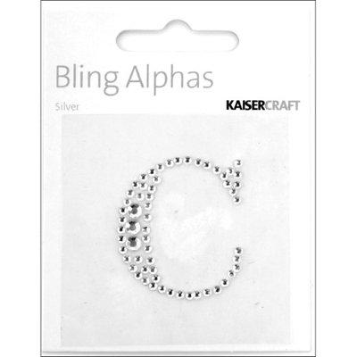 Kaisercraft Bling Alphas Rhinestone Letter, Silver Crystal C
