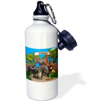 3dRose Animals at the zoo, Sports Water Bottle, 21oz