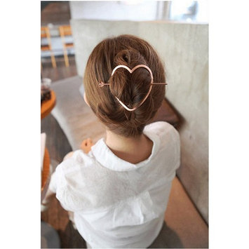 Joyci 1pcs Korean Exaggerated Hair Clasp The Horsetail Hair Pin Hollow Hoop Round Metal Updo Set Geometric Pierced Barrette Hair. (01, Rose g