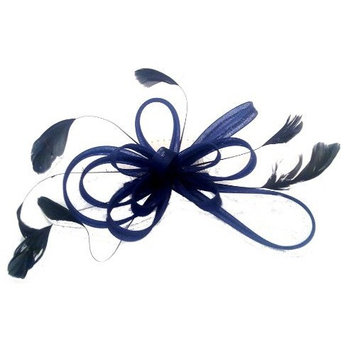 Coiled net & feather- hair fascinator on comb[Navy Blue] by Mias Accessories