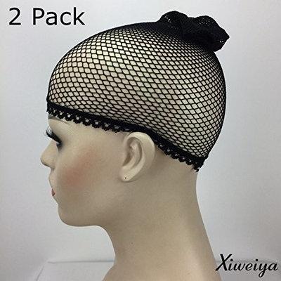 Black Xiweiya Design Wig Caps net - Neutral (2 Pack) Neutral Nude Beige and Black Mesh