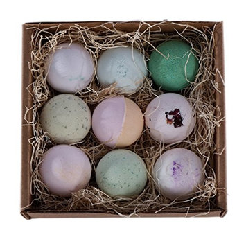 Bath Bomb Gift Pack - All Natural, Fragrant, Skin-Softening Bath Bombs in Variety of Relaxing Fragrances. Handmade in the US. (9-pack)