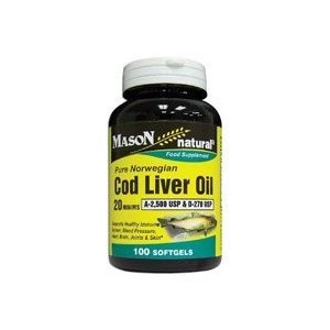 Mason Natural, Cod Liver Oil 20 Minims, 100 Softgels