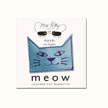 MEOW! Leather Kitty Barrette - Small - Blue