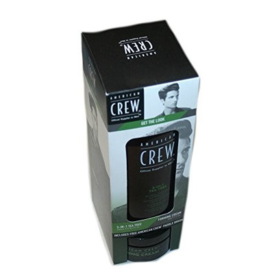 American Crew Get the Look Tea Tree 3-in-1 Shampoo, Conditioner and Body Wash 8.4 fl oz, Forming Cream 3 oz, Paddle Brush