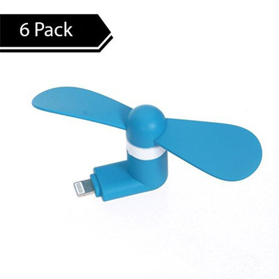 StyleTech Inc. Portable Cool Mini Rotating Fan for Apple Lightning Port Compatible with iPhone/iPods/iPad [ 6 Pack ]