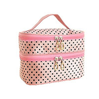 FUNOC Womens Toiletry Bag Dot Pattern Double Layer Makeup Bag