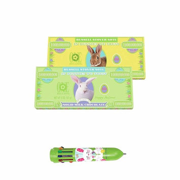 RUSSELL STOVER EASTER Solid Chocolate ! (Bunny Money Solid Milk Chocolate Bar, 2 oz - 2 PACK) Plus Bonus ! Easter Pen !