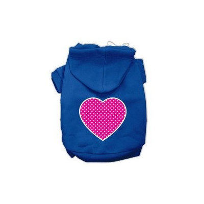 Mirage Pet Products Pink Swiss Dot Heart Screen Print Pet Hoodies Blue Size XXL (18)