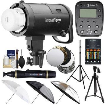 Interfit S1 500ws HSS TTL IGBT Studio Flash Strobe Monolight with TTL Remote + Tripod + Light Stand + 3 Umbrellas + 5 Reflector Disks + Kit for Nikon