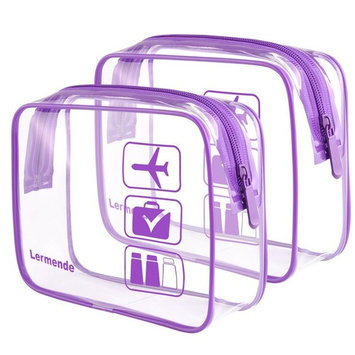 2pcs/pack Lermende Clear Toiletry Bag TSA Approved Travel Carry On Airport Airline Compliant Bag Quart Sized 3-1-1 Kit Luggage Pouch (Purple)