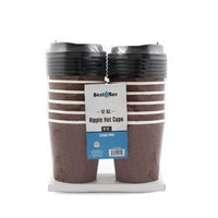 Best Bev 1805 12 oz Ripple Cups with Lids, Brown - 24-12 Count