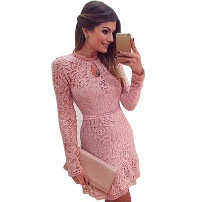 Lace Long Dress,Clearance! AgrinTol Women Sexy Pink Hollow Lace Long Sleeve Slim Party Evening Dress
