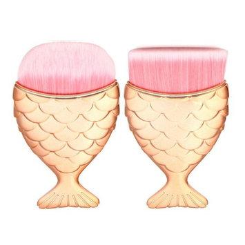 Jujunx 2PCS Mermaid Fish Scale Makeup Fishtail Bottom Powder Blusher Cosmetic Brush (Rose G