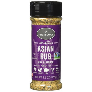 FIRE & FLAVOR Asian Rub Seasoning, Soy & Ginger, 3.1 Ounce