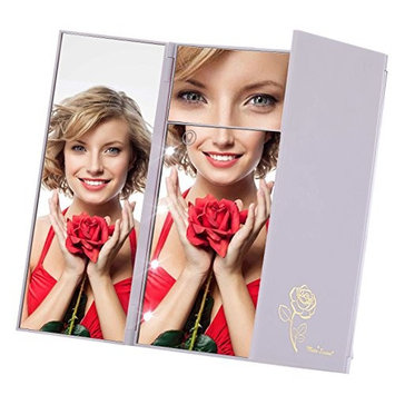 Miss Sweet Lighted Makeup Mirror Trifold Travel Mirror with 5X Magnification & True Image (White)