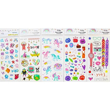 Spestyle fake tattoos that look real 5pcs children cartoon fake temp tattoo stickers in one package, it's including seabed animal,horses,rainbows,monsters,clocks,bikes,lovely animals temporary tattoos