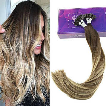 LaaVoo 20 Inch Fusion U Tip Remy Human Hair Extensions Highlight Color #3 Darker Brown to #6 Medium Brown and #24 Light Blonde Salon Style Nail Tip Hair 50 Gram