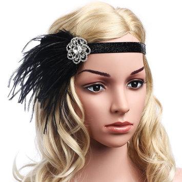 BABEYOND 1920s Flapper Headband Great Gatsby Headpiece 20s Art Deco Headband Ostrich Feather Headdress Vintage 1920s Flapper Gatsby Accessories