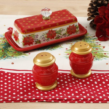 Gibson Overseas, Inc. The Pioneer Woman Holiday Red Salt and Pepper & Butter Dish Set