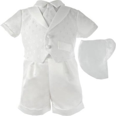 Christening Baptism Newborn Baby Boy Special Occasion 3 Pc Cotton Cross Dobby Vest w/ Satin Boxer Shorts & Hat