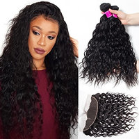 RECOOL Brazilian Hair Water Wave Bundles with Frontal Closure Wet and Wavy Human Hair Extensions Ear to Ear Lace Frontal and Bundles Natural Color (24 26 28+22)