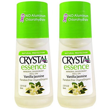 CRYSTAL Vanilla Jasmine Crystal Essence Roll-On (Pack of 2) with Potassium Alum (a Natural Mineral Salt) and Natural Preservatives, Contains No Harmful Chemicals, 2.25 oz