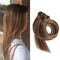 BETTY Clip In Human Hair Extensions 15 18 20 22 Inch 7pcs 70g Set Silky Straight Human Remy Hair Omber Color (20inch, #613)