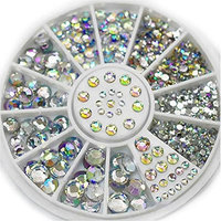 Eachbid New Hot Gorgeous Acrylic Glitter 3D Nail Art Decoration+Wheel White Multicolor