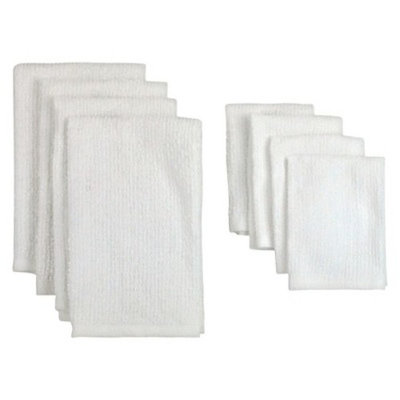 Design Imports Terry Bar Mop Dishtowels and Dishcloths Set (Set of 8),White