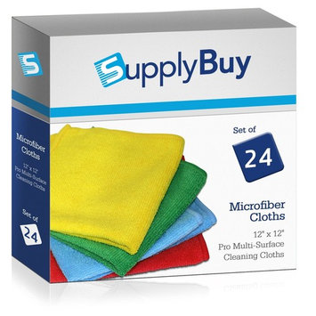 SupplyBuy Pro Multi-Surface Microfiber Towels | All-Purpose Cleaning Cloths | Pack of 24 - 12x12 (12