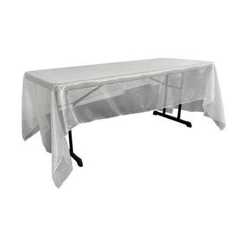 LA Linen TCOrgz60x144-WhiteO11 Sheer Mirror Organza Square Tablecloth White - 60 x 144 in.