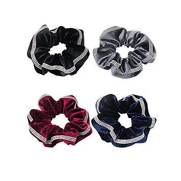 4PCS Velvet Hair Scrunchies Faux Rhinestone Decoration Elastic Hair Bands Ties Hair Ponytail Holder Hair Accessories